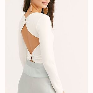 Free People Open Back Crop Top White XS